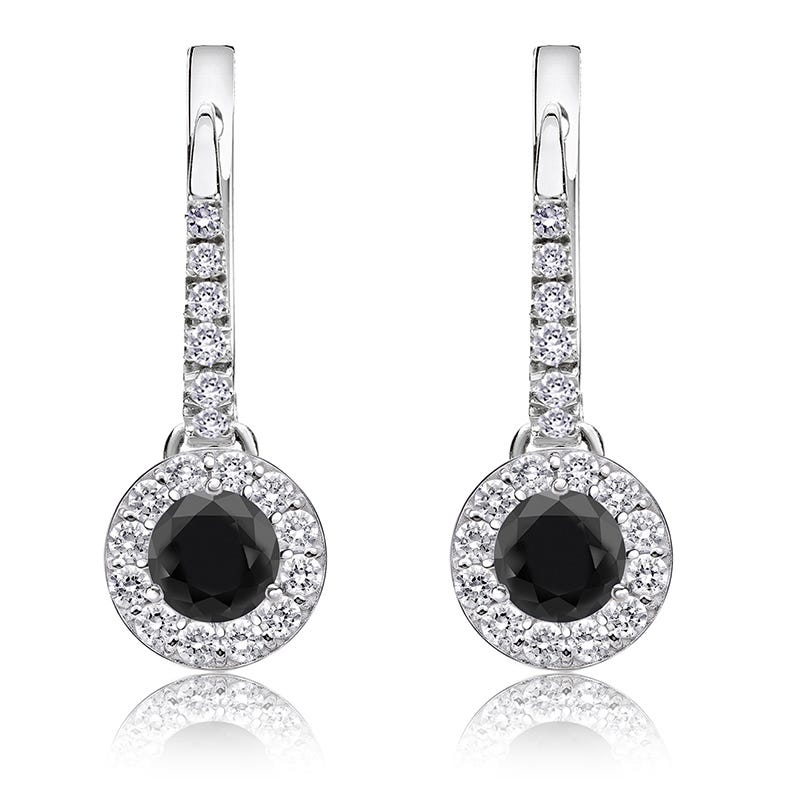 Black Diamond Halo ½ct. Drop Earrings in 14k White Gold