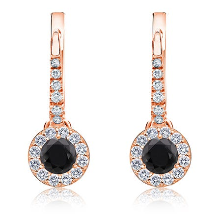 Black Diamond Halo ½ct. Drop Earrings in 14k Rose Gold
