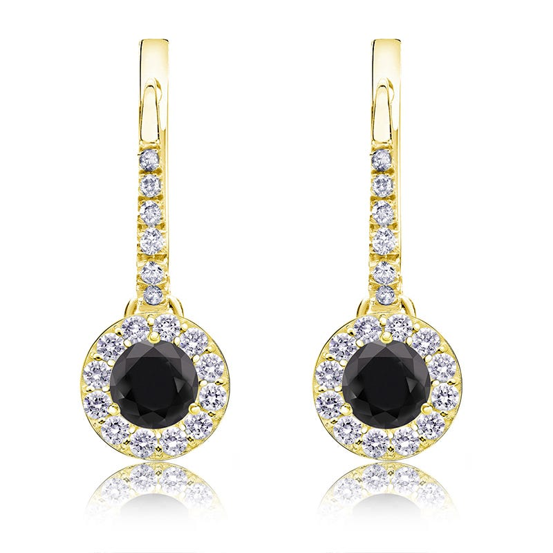 Black Diamond Halo ½ct. Drop Earrings in 14k Yellow Gold