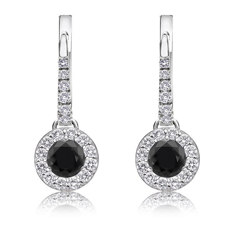 Black Diamond Halo ¾ct. Drop Earrings in 14k White Gold