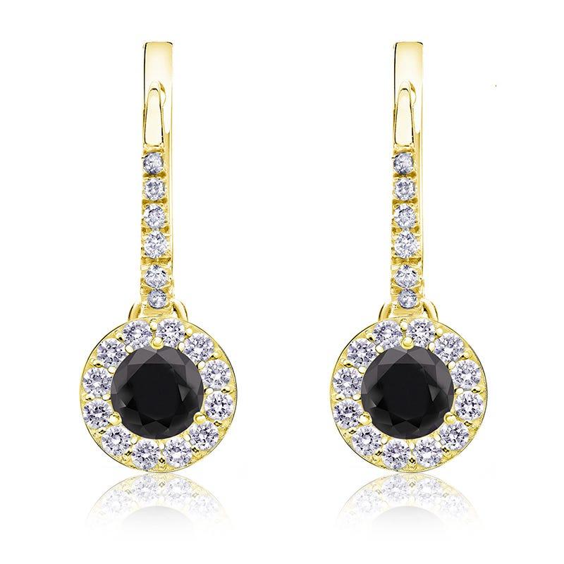 Black Diamond Halo ¾ct. Drop Earrings in 14k Yellow Gold