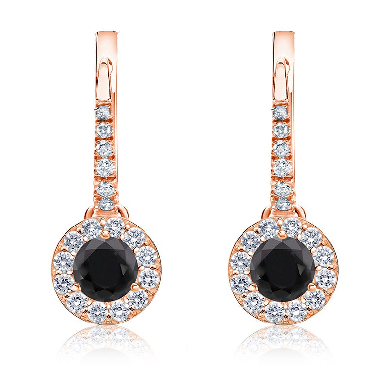 Black Diamond Halo 1ct. Drop Earrings in 14k Rose Gold