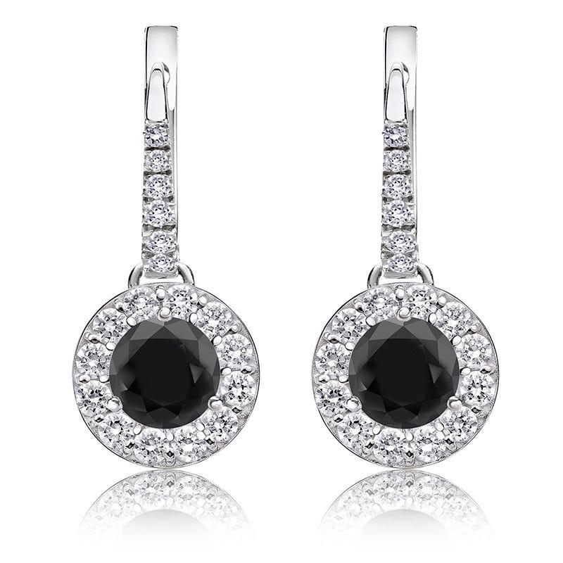 Black Diamond Halo 1½ct. Drop Earrings in 14k White Gold