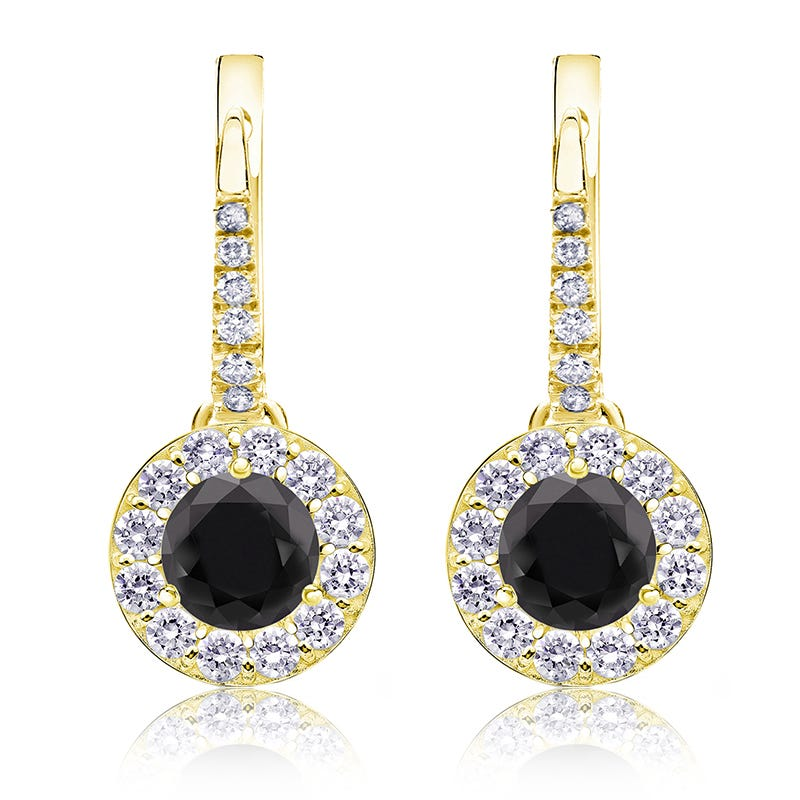 Black Diamond Halo 1½ct. Drop Earrings in 14k Yellow Gold
