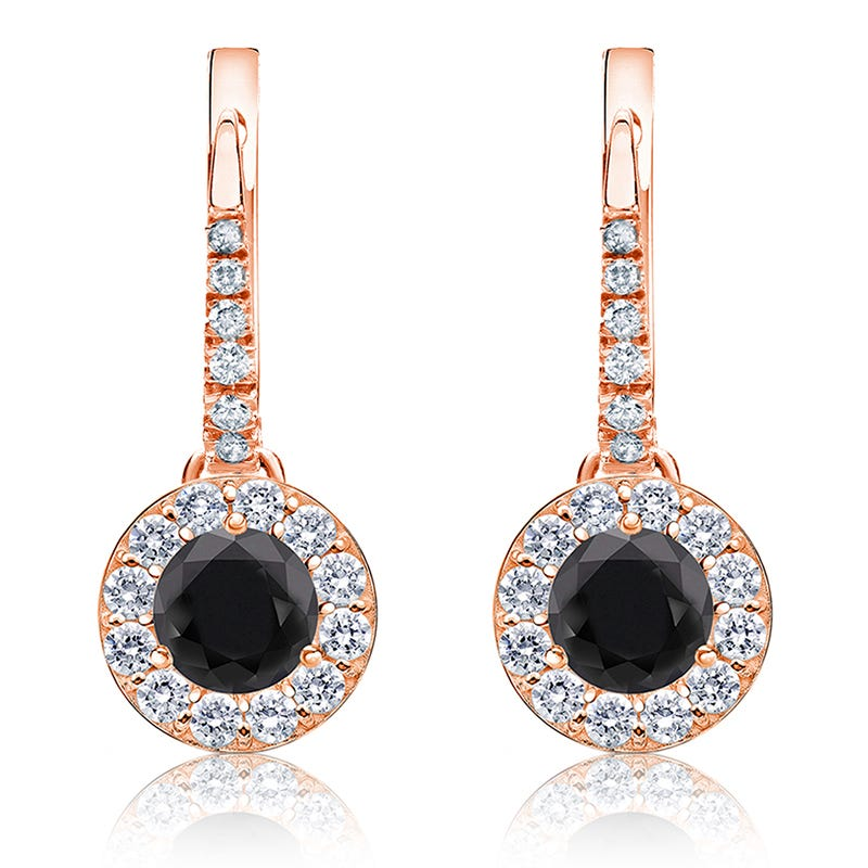 Black Diamond Halo 2ct. Drop Earrings in 14k Rose Gold