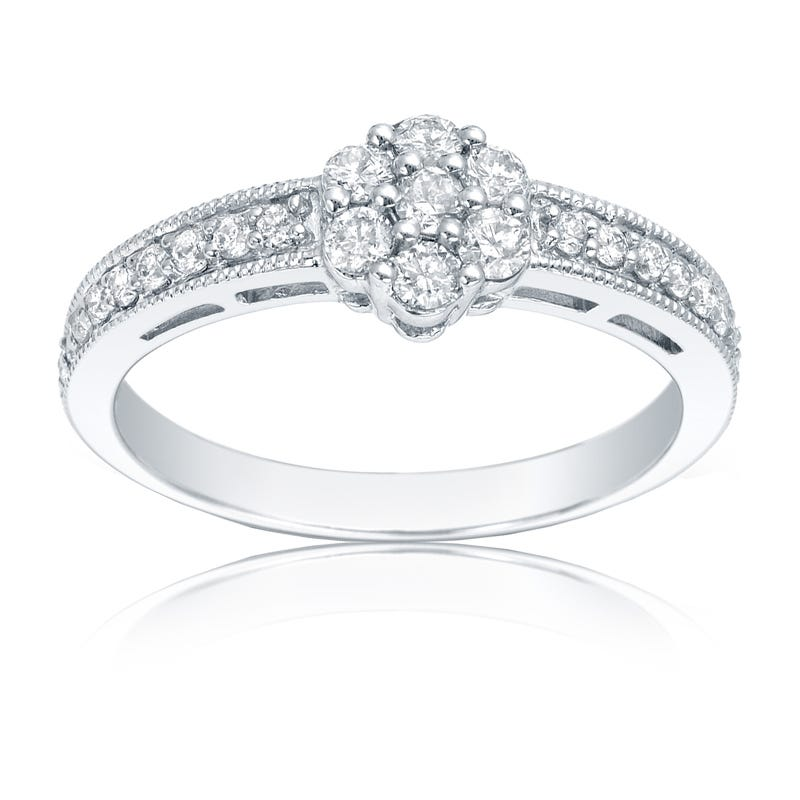 Diamond Flower ½ct. t.w. Promise Ring in 14K White Gold