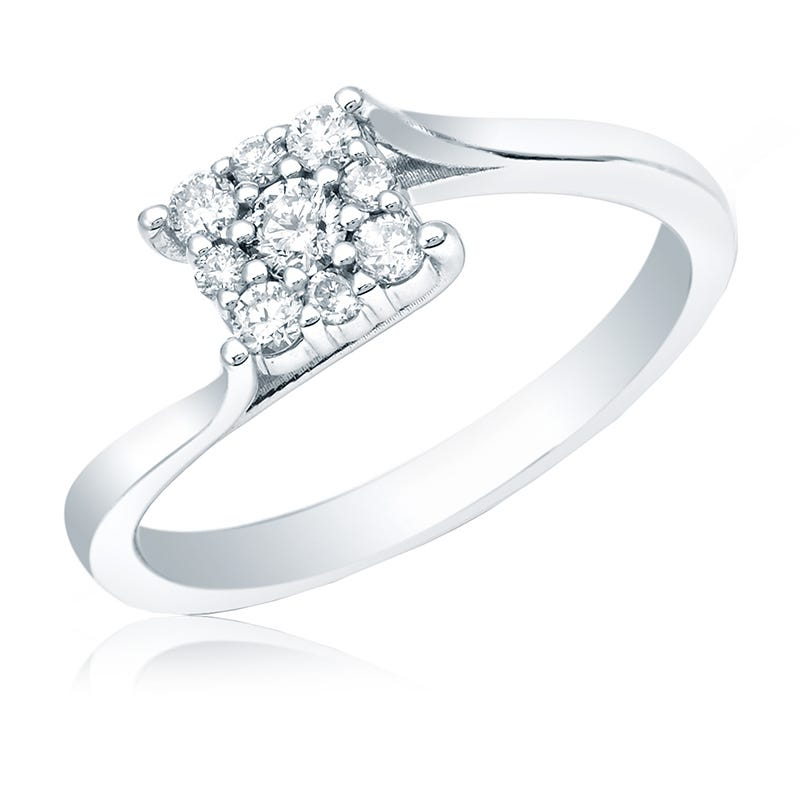 Square Diamond ¼ct. Cluster Promise Ring in 14k White Gold