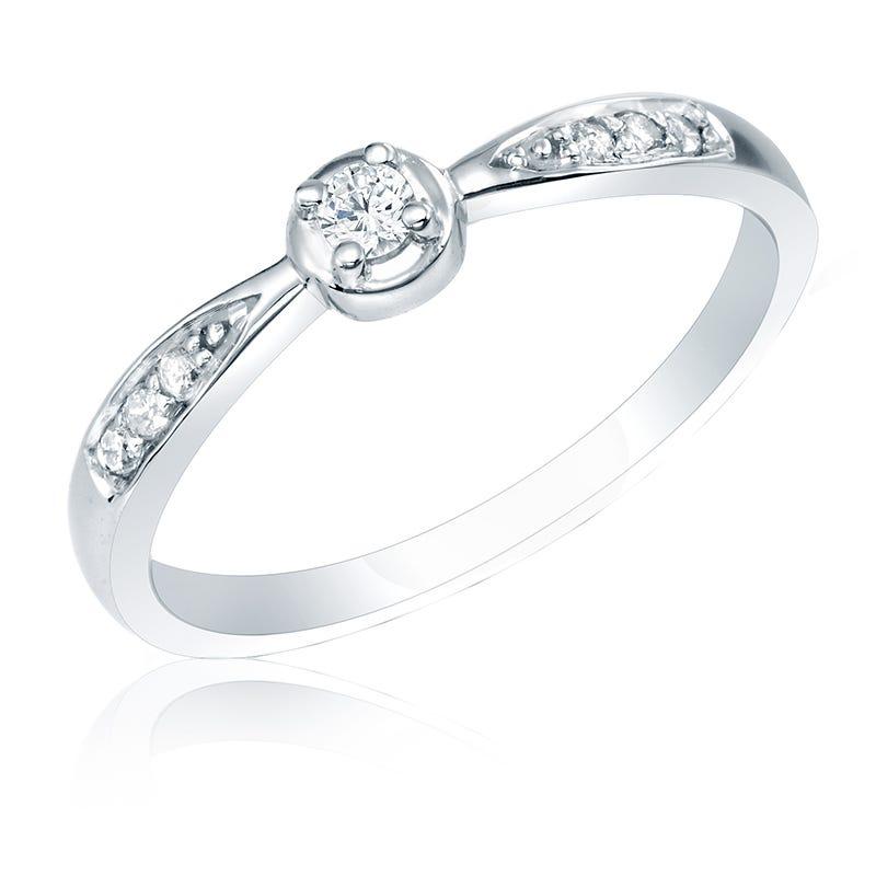 Diamond Promise Ring 14K White Gold