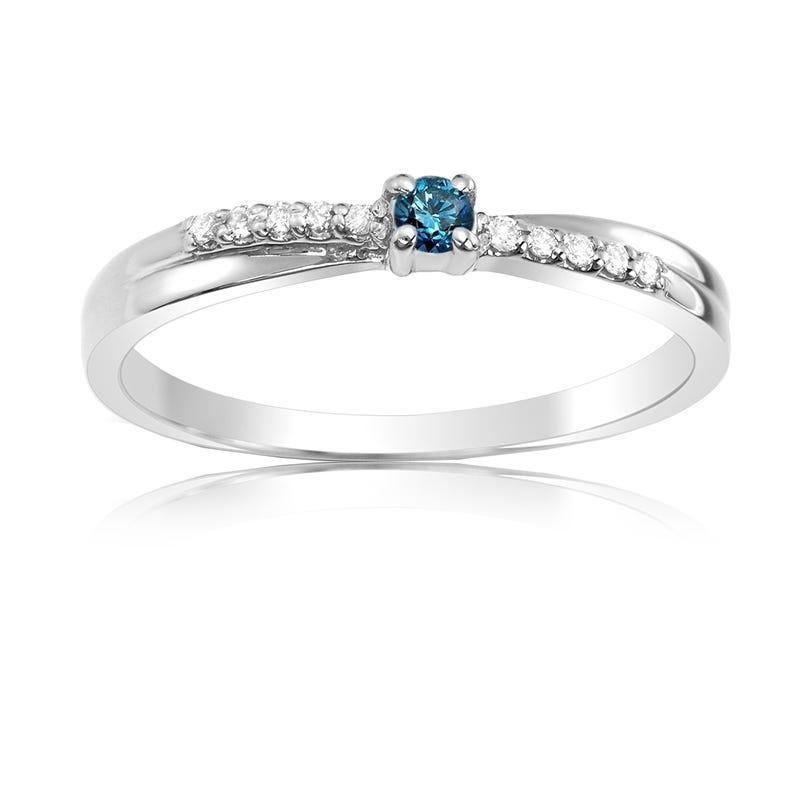 Blue & White Diamond Promise Ring in 14k White Gold