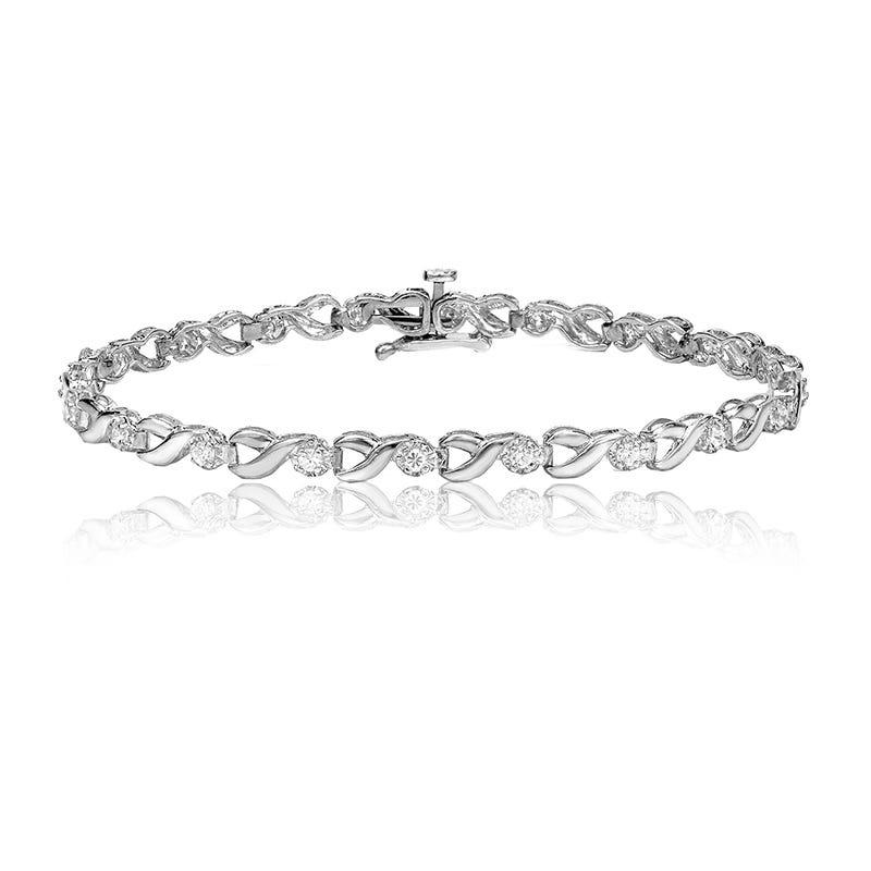 Open-Link 1ct. Diamond Bracelet in 14k White Gold