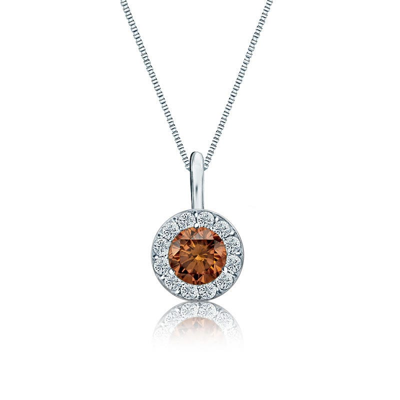 Champagne & White Diamond Halo ½ct. Pendant in 14k White Gold