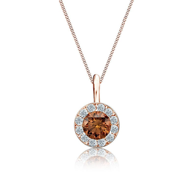 Champagne & White Diamond Halo ½ct. Pendant in 14k Rose Gold