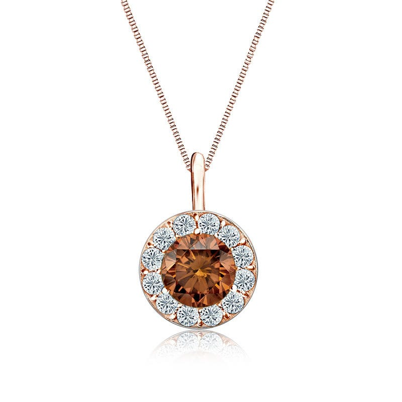 Champagne & White Diamond Halo 1ct. Pendant in 14k Rose Gold