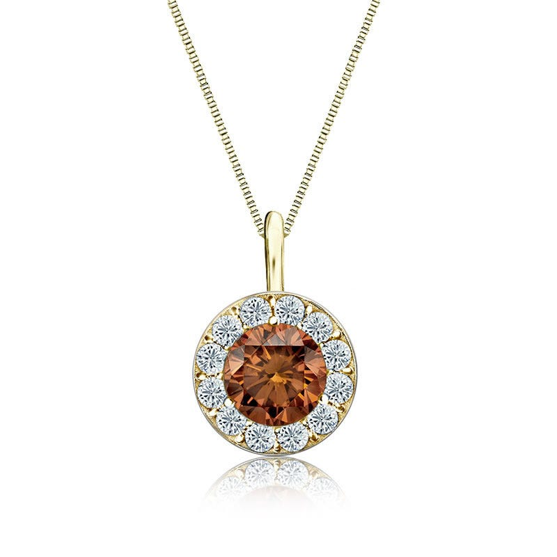 Champagne & White Diamond Halo 1ct. Pendant in 14k Yellow Gold