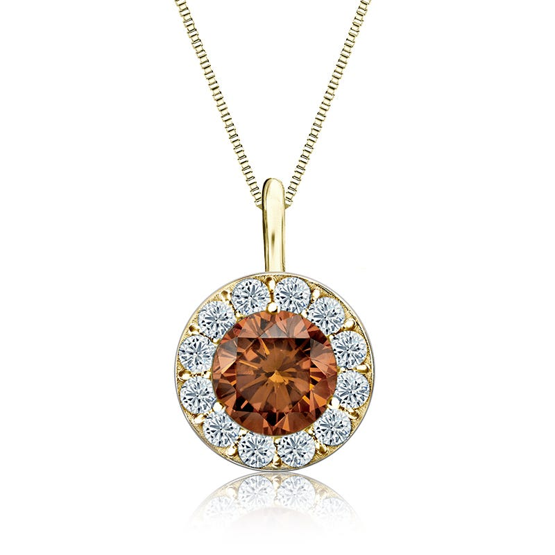 Champagne & White 1½ ct. Diamond Halo Pendant in 14k Yellow Gold