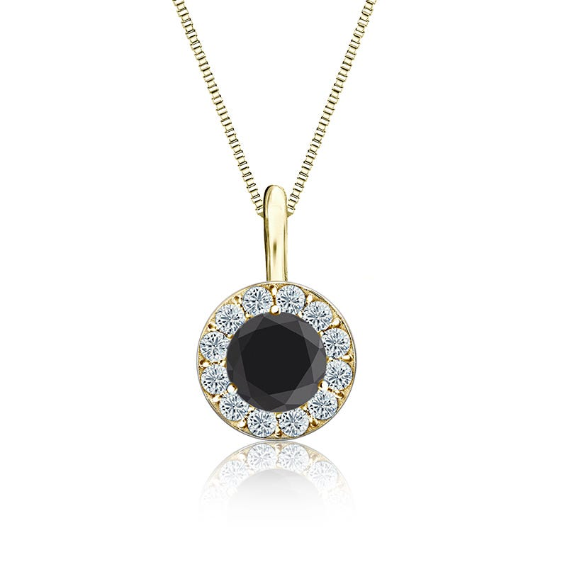 Black & White Diamond Halo ¾ct. t.w. Pendant in 14k Yellow Gold