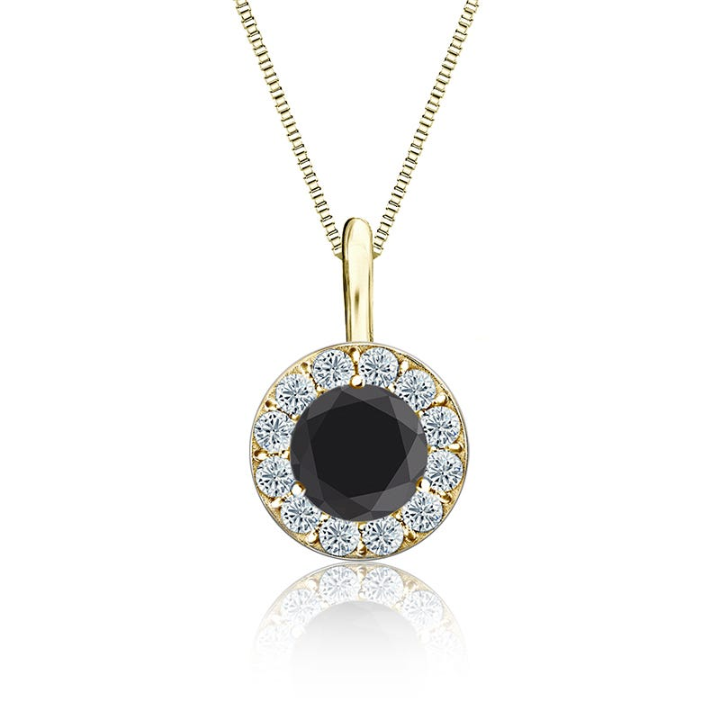 Black & White Diamond Halo 1ct. Pendant in 14k Yellow Gold