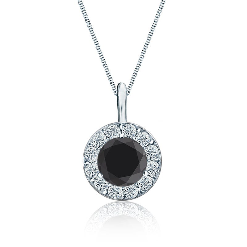 Black & White Diamond Halo 2.00ct. Pendant in 14k White Gold