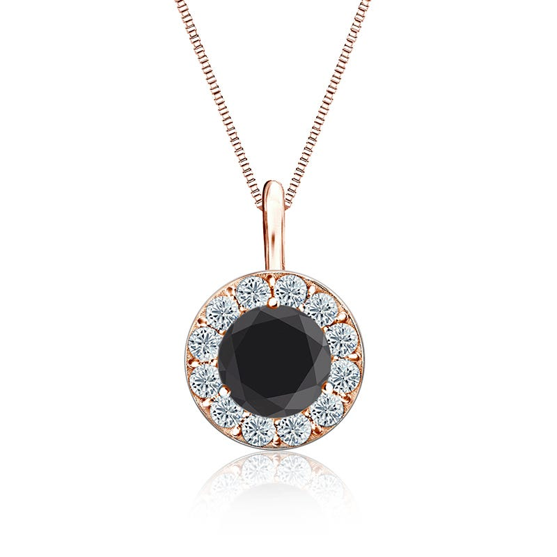 Black & White Diamond Halo 2ct. t.w. Pendant in 14k Rose Gold