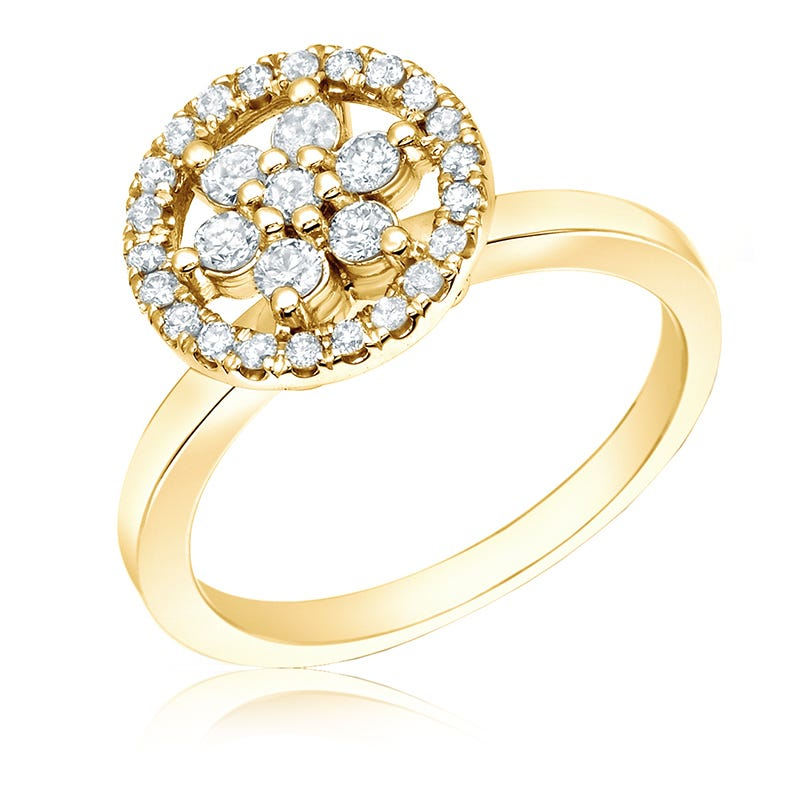 Flower Diamond 1/2ct. Halo Ring in 14k Yellow Gold