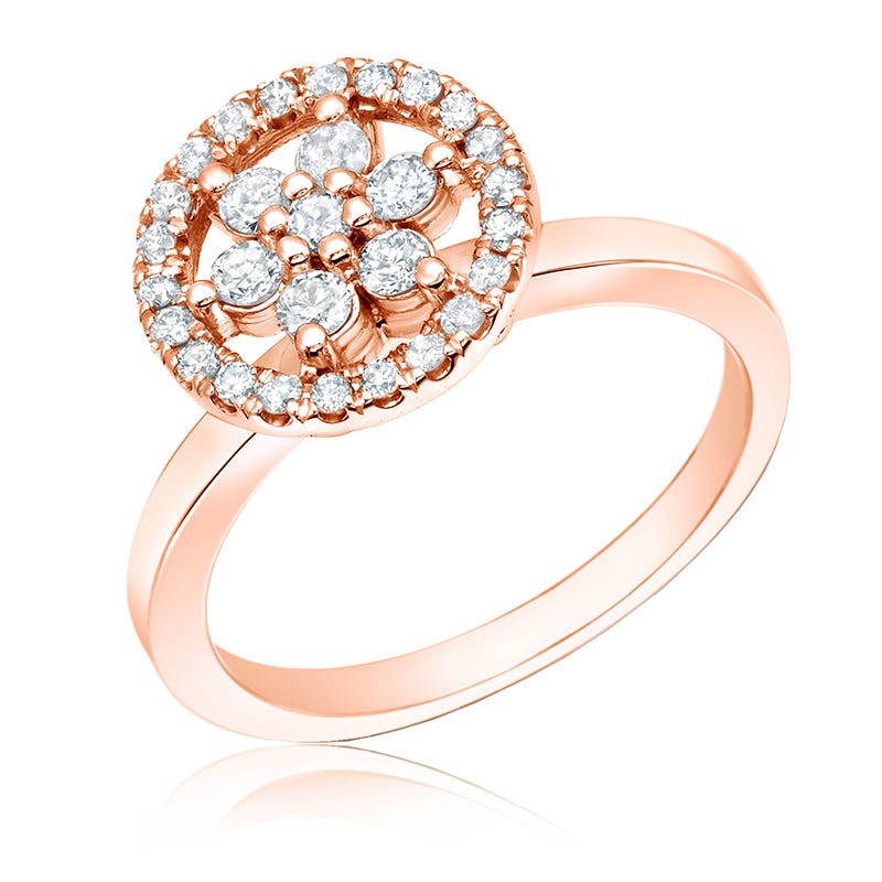 Flower Diamond ½ct. Halo Ring in 14k Rose Gold