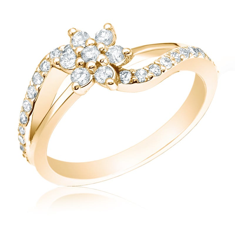 Diamond 1/2ct. Flower Fashion Ring in 14k Yellow Gold