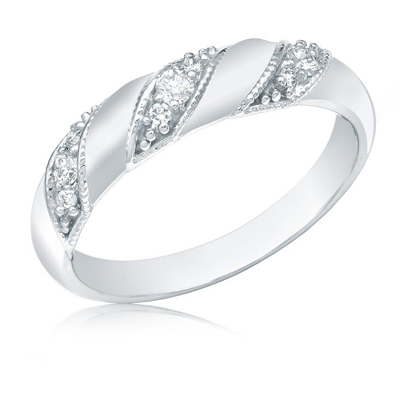 Diamond Fashion ¼ct. 3-Stone Station Ring in 14k White Gold