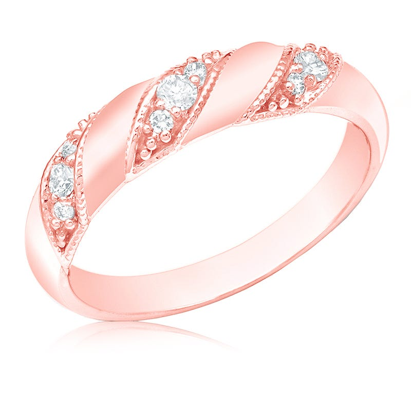 Diamond Fashion ¼ct. 3-Stone Station Ring in 14k Rose Gold