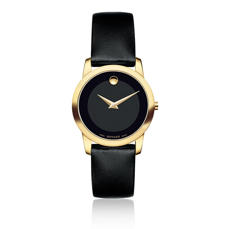 Movado Museum Class Gold PVD Black Leather Watch 606877