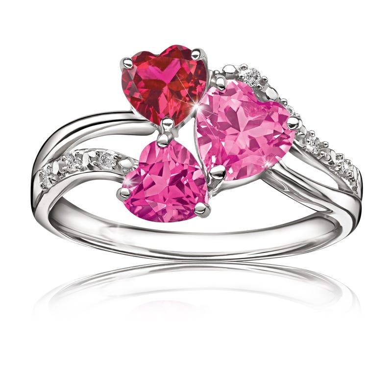 Triple Hearts & Diamond Ring in Sterling Silver
