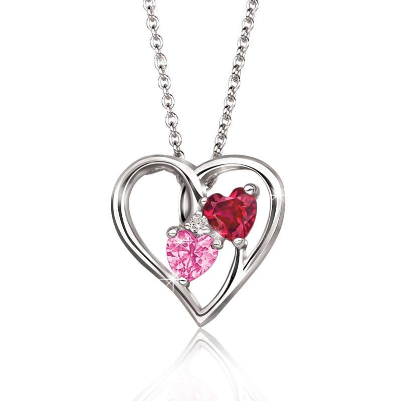 Hearts-In-Heart Pink & Ruby Gemstone Pendant in Sterling Silver
