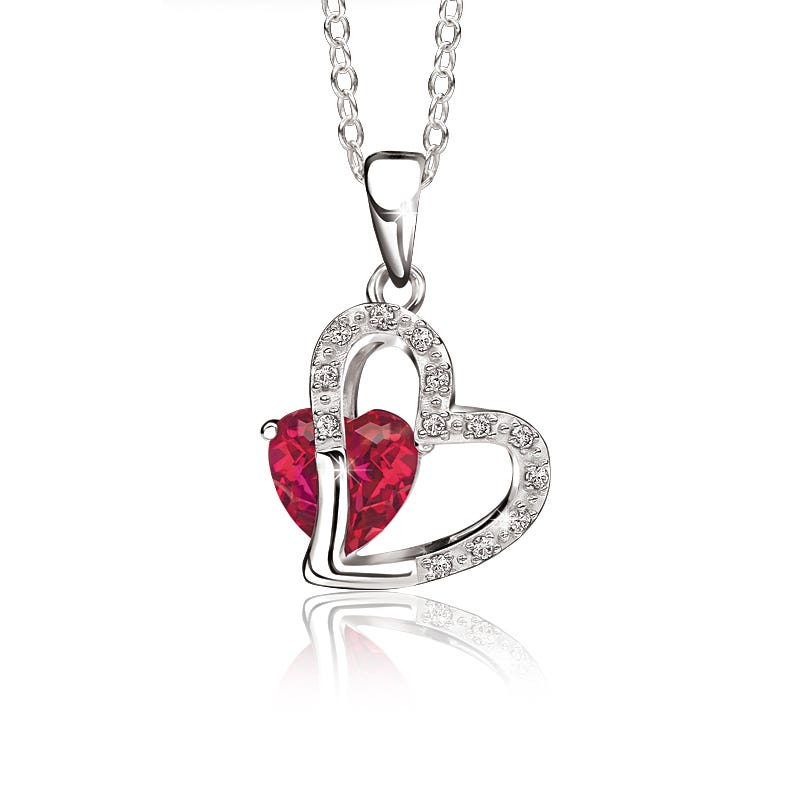 Heart-in-Heart Created Ruby & Diamond Pendant