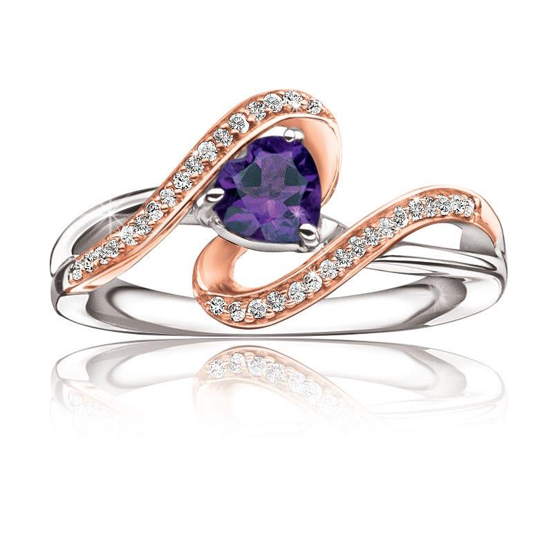 Amethyst Heart & Diamond Ring in 10k Rose Gold & Sterling Silver