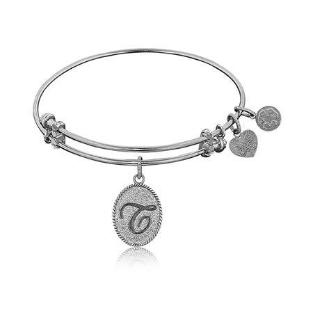 Initial T Charm Bangle Bracelet in White Brass