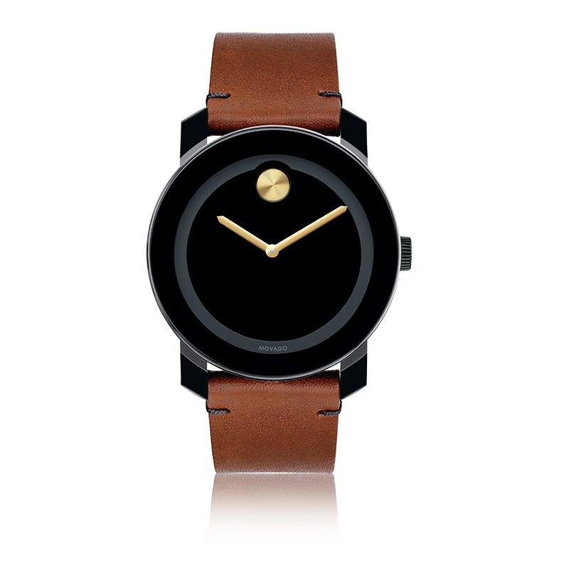 Large Movado BOLD Black Dial with Gold Museum Dot Watch 3600305