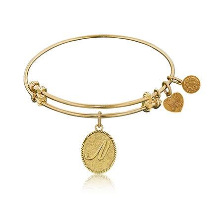 Initial N Charm Bangle Bracelet in Yellow Brass
