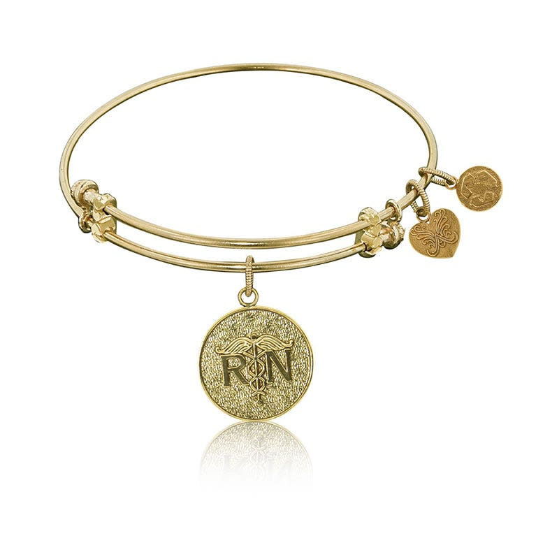 RN Registered Nurse Charm Bangle Bracelet in Yellow Brass