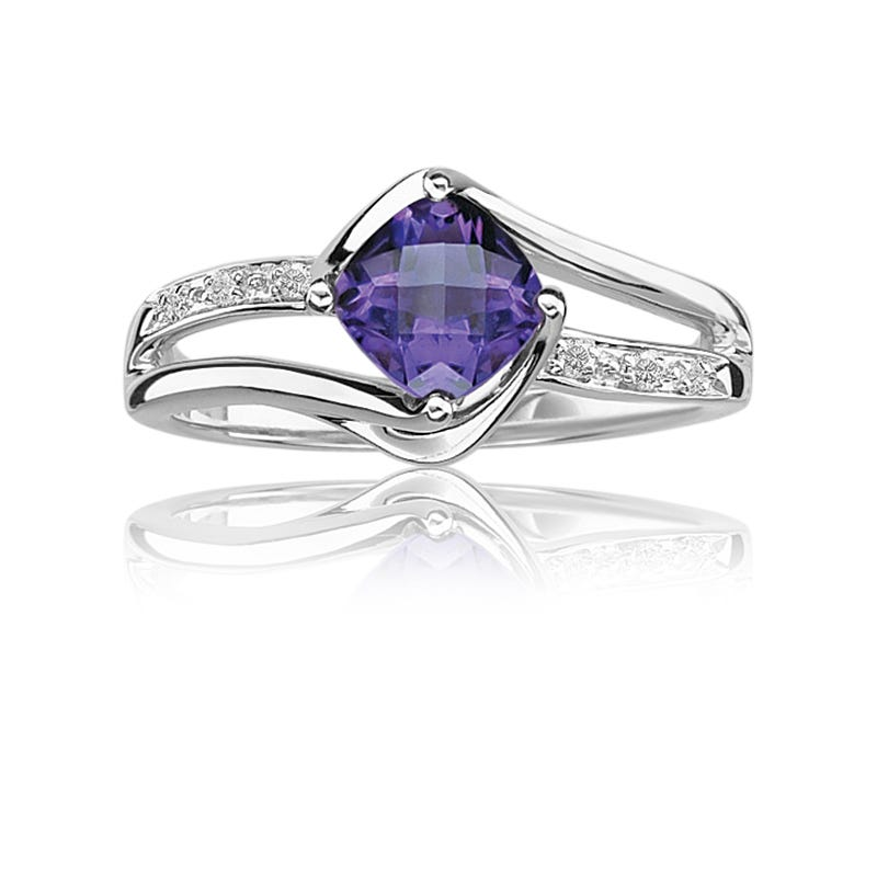 Amethyst & Diamond Birthstone Ring in Sterling Silver