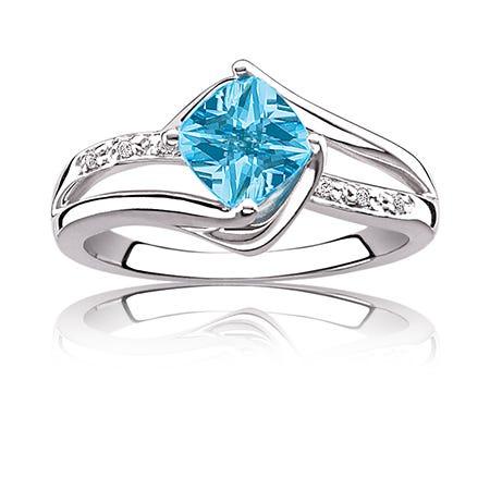 Blue Topaz & Diamond Birthstone Ring Sterling Silver