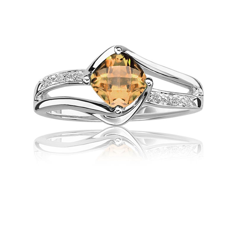 Citrine & Diamond Birthstone Ring in Sterling Silver