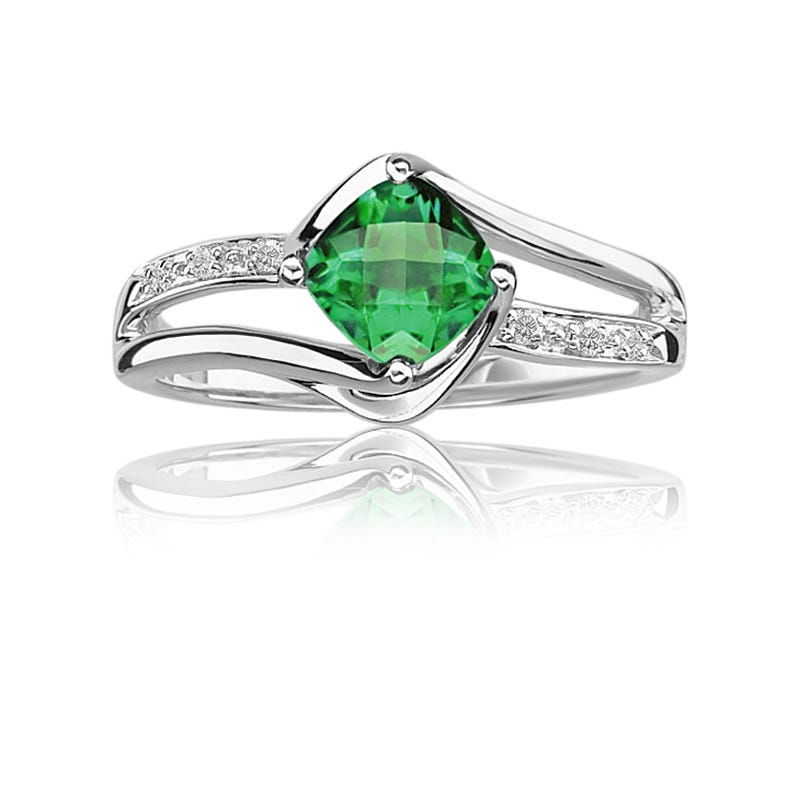 Created Emerald & Diamond Birthstone Ring in Sterling Silver
