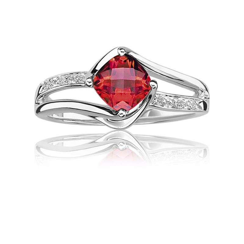 Created Ruby & Diamond Birthstone Ring in Sterling Silver