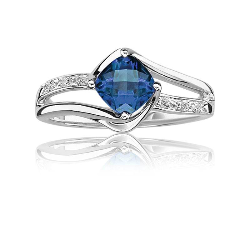 Created Sapphire & Diamond Birthstone Ring in Sterling Silver