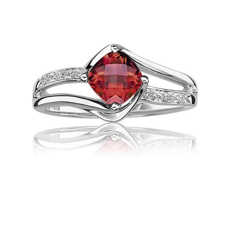 Garnet & Diamond Birthstone Ring in Sterling Silver