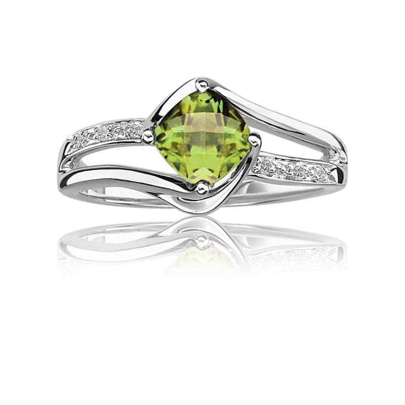 Peridot & Diamond Birthstone Ring in Sterling Silver