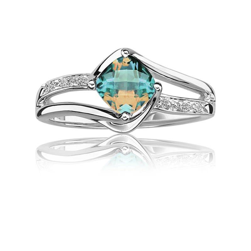 Blue Magic Topaz & Diamond Ring in Sterling Silver