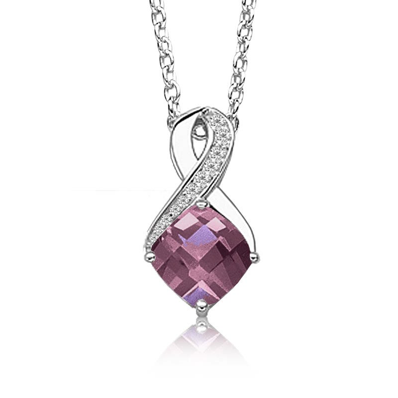 Created Alexandrite & Diamond Birthstone Pendant in Sterling Silver