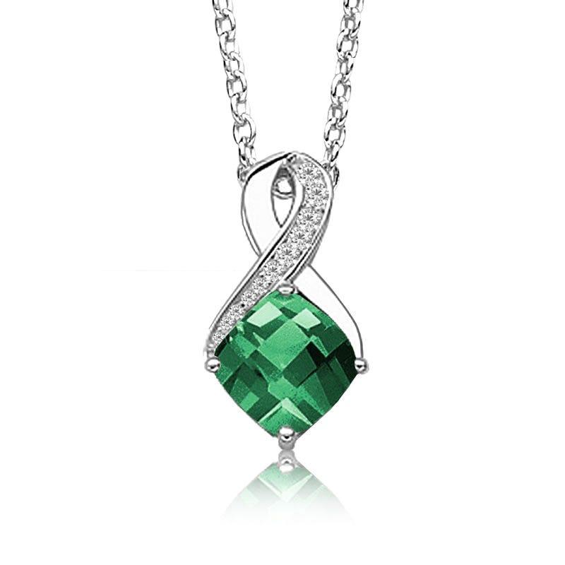 Created Emerald & Diamond Birthstone Pendant in Sterling Silver