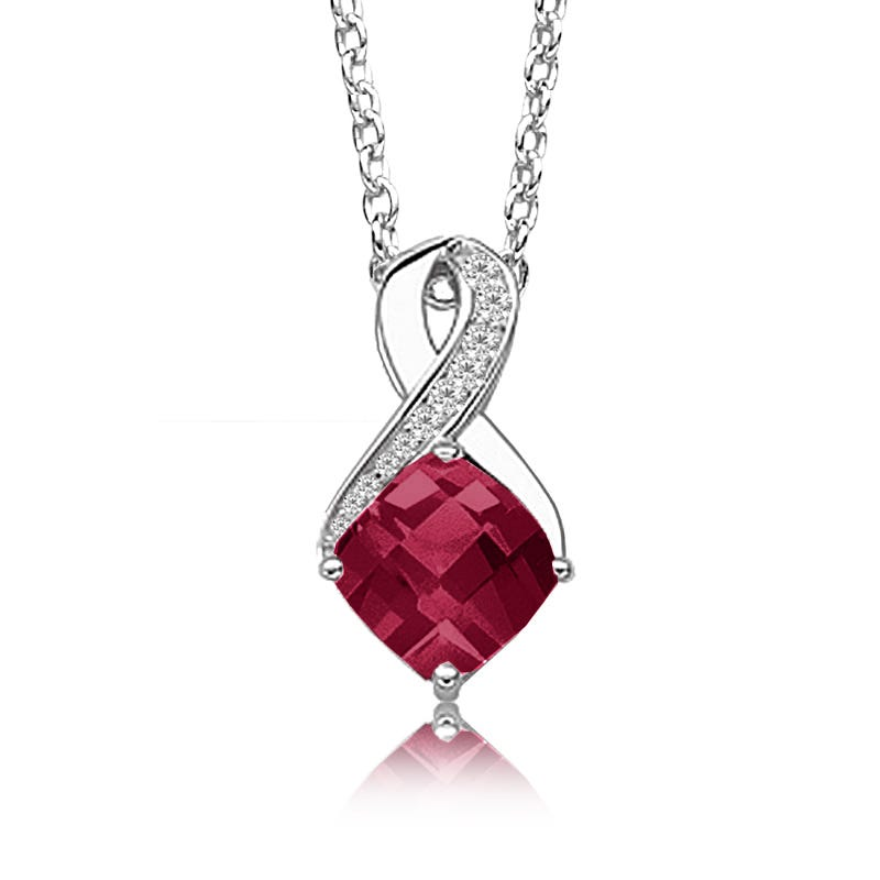 Created Ruby & Diamond Birthstone Pendant in Sterling Silver