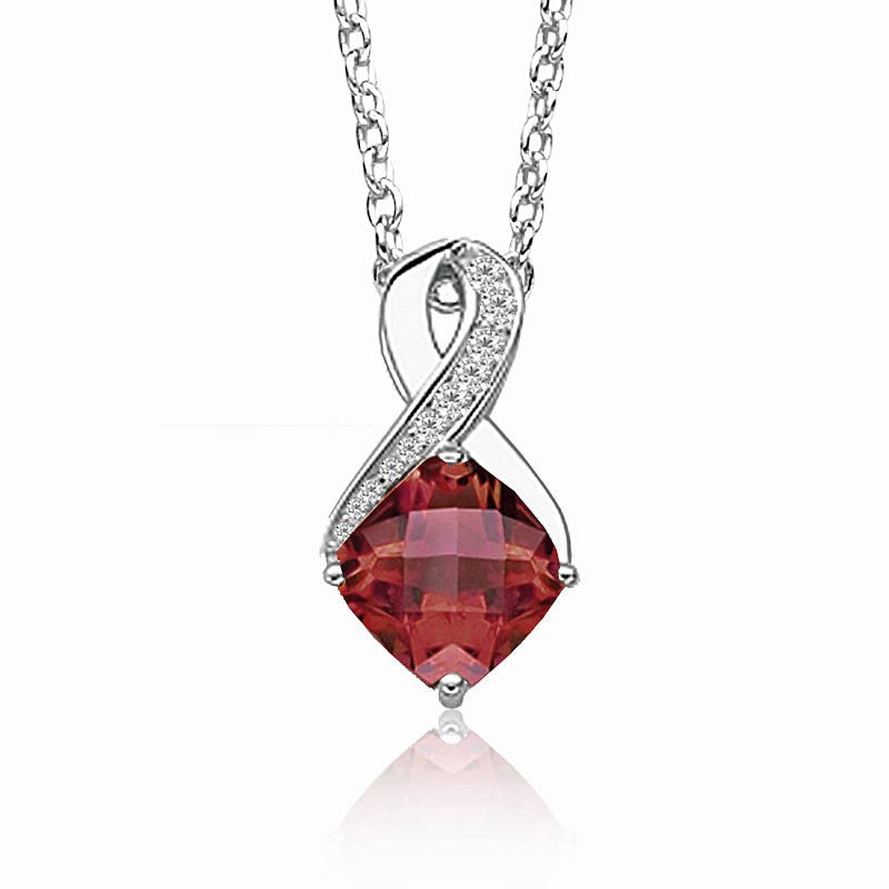 Garnet & Diamond Birthstone Pendant in Sterling Silver